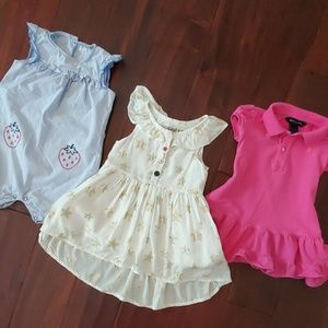 Girls 18 m Romper Dress lot Osh Kosh Ralph Lauren